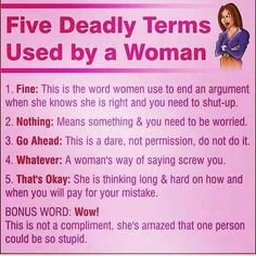 Five Deadly Terms Used By A Woman funny quotes quote women funny quotes humor funny quotes for women Cute Quotes, Great Quotes, Funny Quotes, Funny Memes, Inspirational Quotes, Funny Captions, It's Funny, Thing 1, That One Person