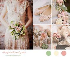Un'inspiration board per un matrimonio rosa antico e verde, con un tocco di bianco panna.