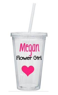 Flower Girl Cup,  flower girl tumbler,  wedding tumblers, Jr bridesmaid gifts, flower girl gifts , personalized tumbler