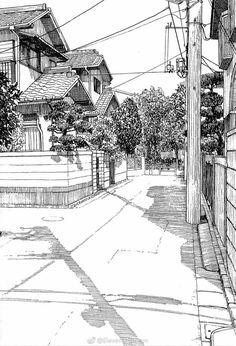 street visual superb line drawing Landscape Sketch, Landscape Drawings, Architecture Drawings, Arte 8 Bits, Perspective Art, Urban Sketching, Ink Pen Drawings, Ink Art, Art Sketches