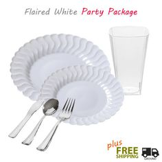 360 Piece  OCCASIONS  Wedding Disposable Plastic Plate u0026 Silverware combo - Settings for 60 people- Masterpiece Style   Plastic plates Wedding and Weddings  sc 1 st  Pinterest & 360 Piece