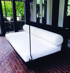 Considering a more modern porch swing bed for the walk-out basement patio area near the pool Outdoor Hanging Bed, Hanging Beds, Hanging Chairs, Swing Design, Bed Design, House Design, Patio Swing, Swing Beds, Porch Swings
