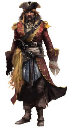 m Fighter Pirate Leather Hat hilvl Bartholomew Roberts a.a Black Bart. When killed in battle, his men throw his body overboard so that his body is never taken. Elfen Fantasy, Fantasy Rpg, Medieval Fantasy, Dark Fantasy, Pirate Art, Pirate Life, Pirate Theme, Assassin's Creed Black, Assassins Creed Black Flag