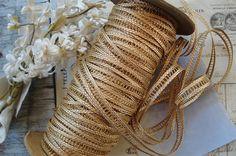 1y Vintage French 3/8 Gold Metallic Insert Lace Braid