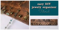 Make an easy jewelry organizer to hang on your wall with a board, some wood stain, and pretty furniture tacks.