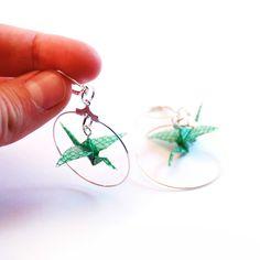 1350a boucles d'oreilles creoles grue verte bijou origami papier resine