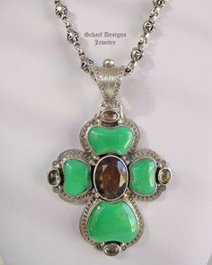 David Troutman Chrysoprase & Topaz Cross Necklace