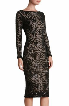 Densely sewn sequins paint mesmerizing Art Deco–inspired patterns. Available in Brushed Gold, Navy and Black. Stunning! Emery Midi Dress by Dress the Population