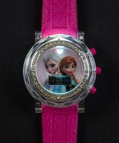 Love this Pink Frozen Anna & Elsa LCD Flashing Glitter Watch by Frozen on #zulily! #zulilyfinds