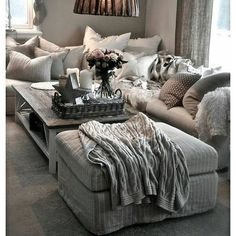 Omgggg I need this big cozy couch and all the pillows
