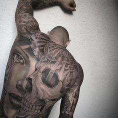 Skull & Portrait, Mens Full Back Piece | Best tattoo ideas & designs #Tattoo #Ideas #Skull #Back
