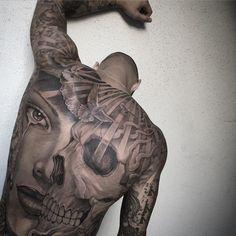 Skull & Portrait, Mens Full Back Piece | Best tattoo ideas & designs #Tattoo #Ideas #Skull #Back