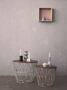 Low round iron coffee #table WIRE BASKET by ferm LIVING #interiors @ferm LIVING