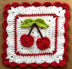 "Free pattern for ""Cherry Dishcloth""...this make a cute Afghan Square!"