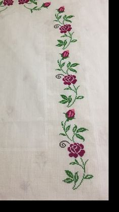 This Pin was discovered by Son Cross Stitch Rose, Cross Stitch Flowers, Cross Stitch Patterns, Hand Embroidery Stitches, Crewel Embroidery, Embroidery Suits Design, Embroidery Designs, Free Hand Designs, Palestinian Embroidery