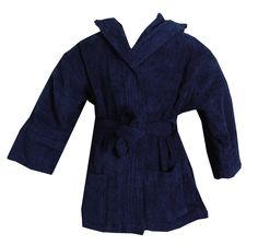 Turkish Kids Hooded Terrycloth Blue Robe #bathrobeshoppe www.bathrobeshoppe.com