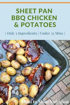 Sheet Pan BBQ Chicken and Potatoes is a weeknight dinner sure to become a family favorite. Ready in 30 minutes and the easiest post mealtime clean-up! Healthy Dinner Recipes, Healthy Lunches, Recipe Sheets, Nutrition Articles, Bbq Chicken, Weeknight Dinners, Easy Dinners, Mediterranean Recipes, Kid Friendly Meals