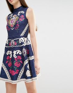 Image 3 ofComino Couture High Neck Skater Dress with Engineered Print and…