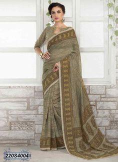 Divine Beige Coloured Linen Printed Saree
