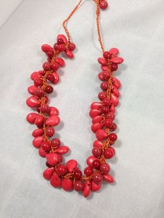Coral Crocheted Beaded Necklace on Etsy, $19.00
