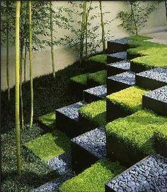 landscape design escalones en damero