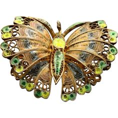 Early 800 Silver Enamel Butterfly found at www.rubylane.com @rubylanecom