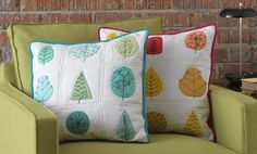 All Seasons Pillow PDF Pattern from The Quilter's Appliqué Workshop | Sew Mama Sew | Butterfly Pillow, Crochet Cushions, Quilted Pillow, Embroidery Applique, Applique Pillows, Felt Applique, Sewing Pillows, Machine Embroidery, Sewing Patterns Free