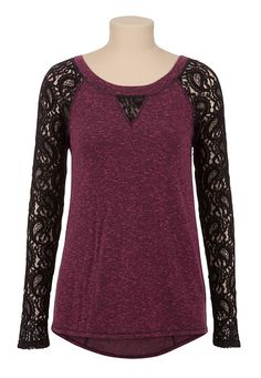 High-Low Lace Sleeve Top (original price, $29) available at #Maurices