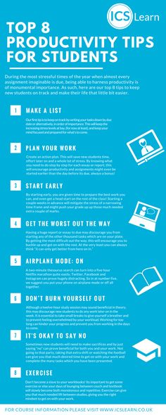 Top 8 Productivity Tips for New Students  View More @ http://www.liveinfographic.com/  #Best Infographics Free Infographics Infographic infographics matthewmarley Top 8 Productivity Tips for New Students  #infographic  #infographics #pintrestinfographics  #pintrest #pintrestpins