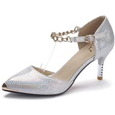 Women's Buckle Spikes Stilettos Pu Solid Pointed Closed Toe Pumps Shoes >>> Find out more about the great product at the image link. (This is an affiliate link) #Pumps