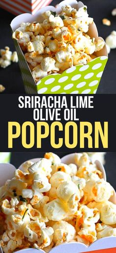 This slightly spicy popcorn recipe gets it kick and tang from a dose of sriracha and lime-spiked olive oil. Perfect for movie night! 104 calories and 4 Weight Watchers SP | Recipes | Healthy Snacks | Seasoning | Homemade | Flavored #popcornrecipes #popcornseasoning #healthysnacks #movienight #weightwatchers Spicy Popcorn, Popcorn Recipes, Snack Recipes, Fast Dinners, Easy Meals, Top Recipes, Whole Food Recipes, Healthy Meals For Kids, Healthy Snacks