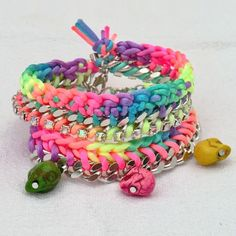 Neon multicolor braided chain bracelet heart neon by craftysou, $20.00