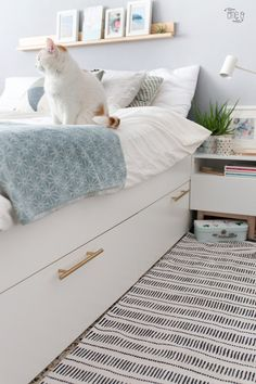 IKEA Bedroom Hacks That Will Blow Your Mind Genius IKEA Bedroom Hacks That Will Blow Your Mind - BRIMNES Bed frame with storage & headboard - white, Lönset - IKEA ikea malm bed hack Prepac King Select Platform Bed with Optional Drawers Ikea Headboard, Ikea Bedroom Furniture, Headboards For Beds, Storage Headboard, Bedroom Drawers, Ikea Bedroom Design, Ikea Storage Bed Hack, Furniture Ideas, Furniture Websites
