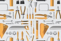 Construction tools pattern by Netkoff on @creativemarket