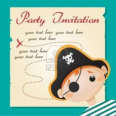 Pirate party invitation, vector illustration Stock Photo