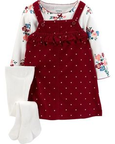 Carter's Baby Girl Polka-Dot Corduroy Jumper Floral Tee & Tights Set - March 17 2019 at Baby Outfits, Winter Outfits For Girls, Newborn Outfits, Baby Girl Dresses, Toddler Outfits, Kids Outfits, Baby Dress, Dress Set, Trendy Outfits