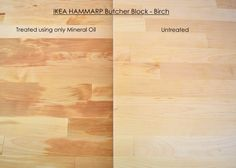 IKEA HAMMARP butcher block in Birch - Comparing one side treated with mineral oil to an untreated side