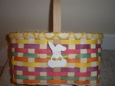Handwoven Easter Basket with Ceramic Bunny by BHBasketsNBeadworks, $15.00 #shopetsy #boebot #deals
