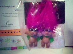 HALLOWEEN TRICK OR TROLL HOT PINK HAIR EARRINGS VHTF