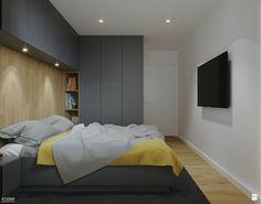 Minimalist bedroom design with splash of bright colors