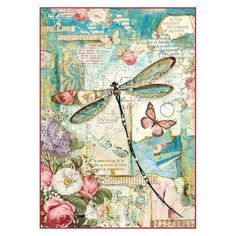 Paper Embroidery Stamperia Decoupage Rice Paper Packed Wonderland dragonfly - Decoupage Rice Paper Packed Wonderland dragonfly by Stamperia for Scrapbooks, Cards, Scrapbooking Shabby, Scrapbook Paper, Scrapbooking Layouts, Paper Embroidery, Cross Stitch Embroidery, Papel Vintage, Vintage Paper Crafts, Frantic Stamper, Dragonfly Art