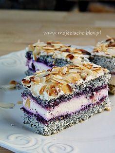 Pod płatkami migdałów | MOJE CIACHO Polish Food, Polish Recipes, Cheesecakes, Nutella, Sweet Recipes, Sweet Tooth, Cooking Recipes, Sweets, Purple