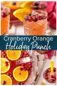 Holiday Punch is one of our favorite EASY PUNCH RECIPES perfect for Thanksgiving or Christmas! This Vodka punch is made with Cranberry Juice, Orange Juice, Ginger Ale, Sparkling Cider and more! You can pour in the Vodka or make it your new Non Alcoholic C Fall Punch Recipes, Easy Drink Recipes, Drinks Alcohol Recipes, Yummy Drinks, Holiday Recipes, Best Punch Recipe, Brunch Drinks, Easy Cocktails, Christmas Recipes