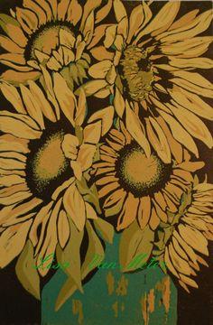 Sunflowers linocut relief print by LisaVanMeter on Etsy, $190.00