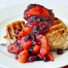 Pork Loin Chops with Cranberry Peach Chutney - a quick and easy version of chutney that's perfect to serve with quickly grilled pork chops for a flavour packed weekday dinner.