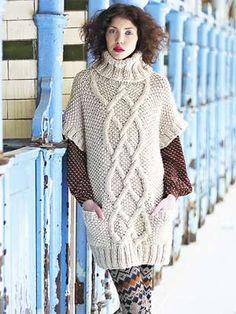 Knit a cable and moss-stitch tunic: free knitting pattern