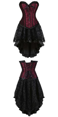 $19.89,Plus Size Lace-up Two Piece Corset Dress - Red 3xl   rosewholesale,rosewholesale.com,rosewholesale plus size,dress   #rosewholesale #plussize #corsetdress