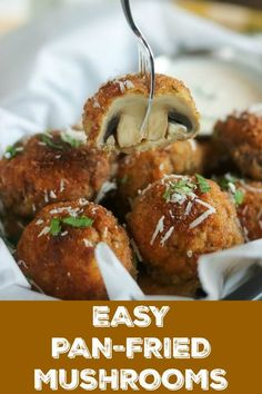 Easy Pan Fried Mushrooms are perfect as an appetizer, side dish or snack. They're infused with loads of flavor from Italian bread crumbs, fresh Parmesan and buttermilk. They're fried to golden perfection in minutes and will be gone in a flash #mushrooms #friedmushrooms #parmesan #breadcrumbs #buttermilk #panfriedmushrooms