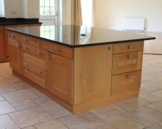 Bespoke Oak Kitchen Island With Top Quality Large Black Granite Worktop
