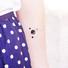 Black and White Planet + Colourful Cute Planet Temporary Tattoo Set